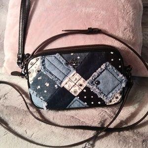 COACH Blue Denim Patchwork Crossbody Bag